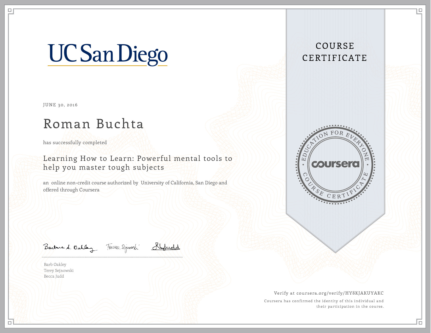 Certificat-mooc-coursera-Learn-how-to-learn-Roman-Buchta